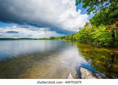 Rocks on the shore of Massabesic Lake, in Auburn, New Hampshire.