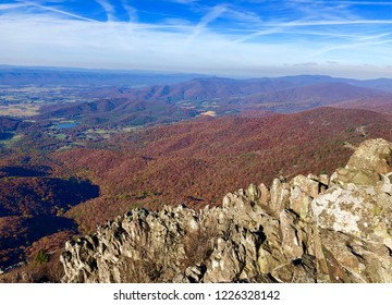 rocks over the shenandoah valley in fall