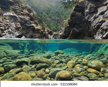 Rocks over and under the water split by waterline in a river with clear water, Dumbea river, New Caledonia
