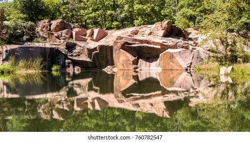 Rocks reflected at the river at Elephant rock Missouri State Park, Missouri, USA