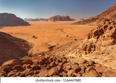 Rocks and sand in Wadi-Rum desert, Jordan, Middle East