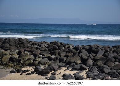 Rocks and sea in Candidasa, Bali - Indonesia