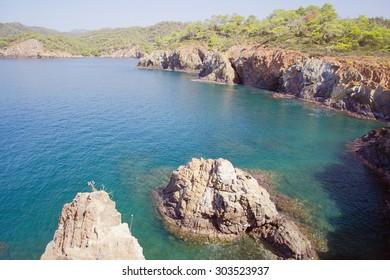Rocks and sea gulf. Fethie, Turkey