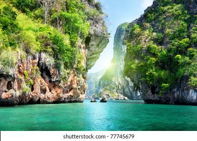 rocks and sea in Krabi Thailand
