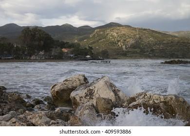 Rocks, sea and mountains, Katelios, Kefalonia, Greece