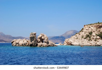 Rocks in the sea off the coast of Plati, a Greek island