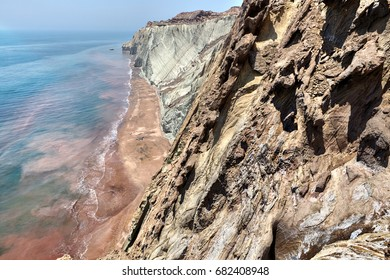 Rocks and sea, Persian Gulf,  Iranian Island of Hormuz, Hormozgan Province,  southern Iran.