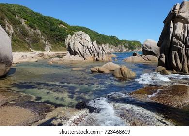 Rocks and the sea. Tachingoza Bay. Primorye. Russia.
