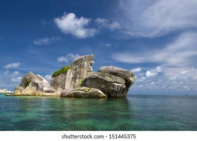 Rocks shaped like a bird on Belitung Island, Indonesia