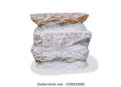 Rocks for sitting or Stone sitting bench in garden isolated on white background with clipping path