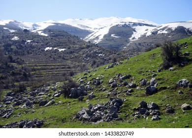 Rocks and snow on mountain in Lebanon