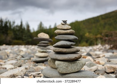 Rocks Stacked Close Up in a river bed