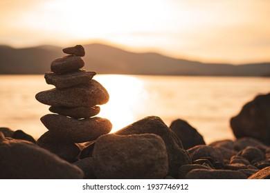 Rocks Standing at orange sunset