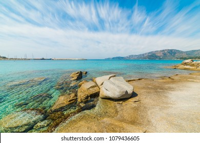 Rocks and turquoise water in Spiaggia del Riso in Villasimius. Sardinia, Italy