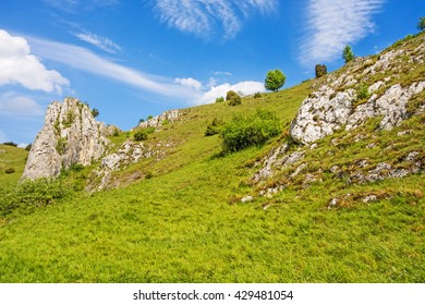 Rocks at valley Eselsburger Tal near river Brenz - jewel of the swabian alps, meadow in front