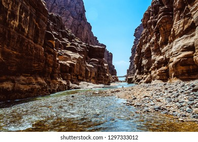 Rocks Wadi Mujib -- national park located in area of Dead sea, Jordan