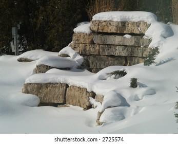 rocks wall in winter park