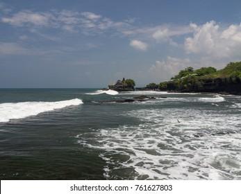 Rocks and waves on beach-Bali,Indonesia. November, 2017