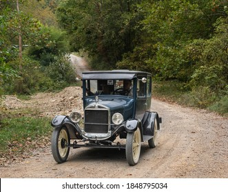 Rockville, Indiana, USA.  September 26, 2020. Model T Ford car on a rural road