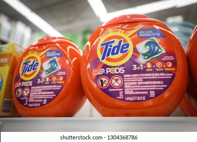 Rockville, Maryland / USA - February 3, 2019: Tide Pods, a form of laundry detergent, are for sale at a Bed, Bath and Beyond store.