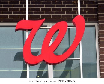 Rockville, Maryland / USA - March 2019: Sign for Walgreen in downtown Rockville