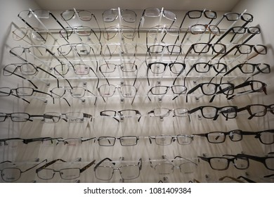 Rockville, MD - April 27, 2018: Prescription glasses for sale and on display at an optician's office.