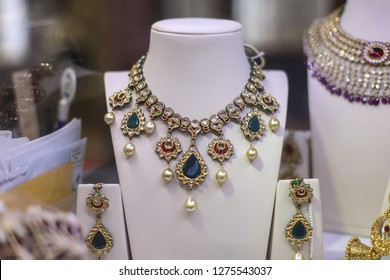 Rockville, MD / USA - December 30, 2018: A beautiful ornamental bridal necklace in a traditional Indian jewelry store.
