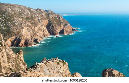 Rocky atlantic coastline at the west point of mainland Europe. Cape Roca (Cabo da Roca), Portugal