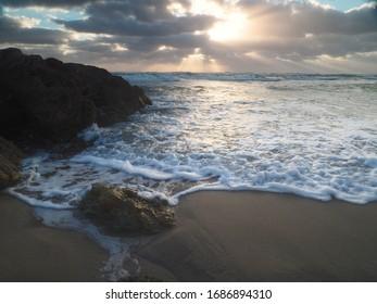 Rocky Atlantic Shore Incoming Tide at Sunrise
