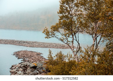 Rocky bank of mountain lake in misty  autumn morning. Beautiful autumn nature of Norway.
