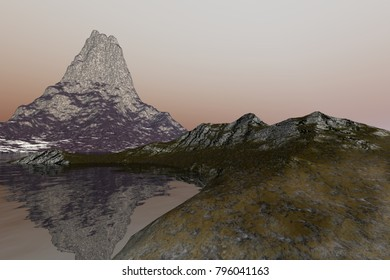 Rocky beach, 3D rendering, a mediterranean landscape, reflection on water and a hazy sky.