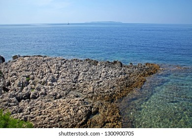 Rocky beach of Adriatic coast near Mali Losinj, island Losinj, Croatia, Europe, 2