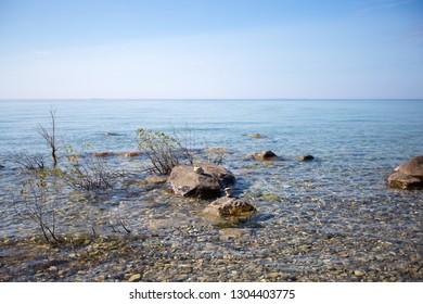 Rocky beach along Lake Michigan near Northport, Michigan