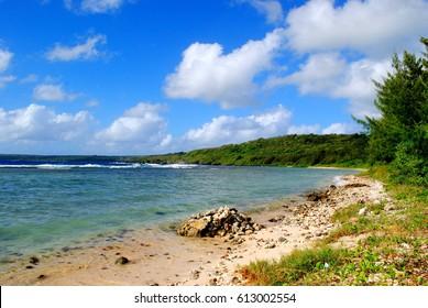 Rocky beach Coral Ocean Point beach in Saipan, Northern Mariana Islands