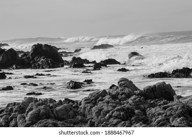 Rocky beach with crashing waves