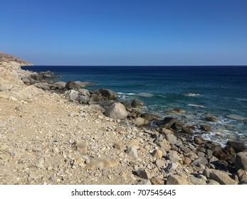 Rocky beach in Greek island, Ikaria