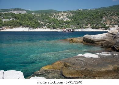 Rocky beach of Greek Island Thassos