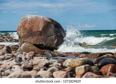 rocky beach in Hiiumaa island Estonia in summer