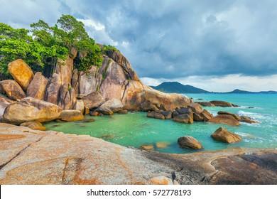 Rocky Beach Hin Ta and Hin Yai, on Koh Samui in Thailand.