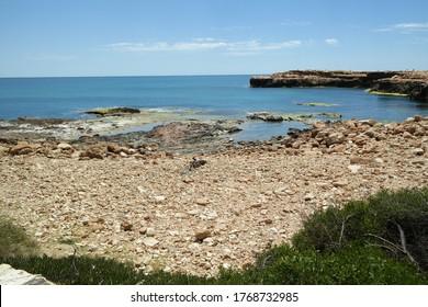 The rocky beach of Los Locos, Torrevieja, Spain