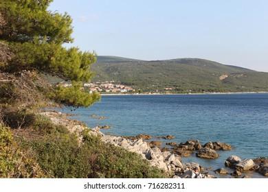 Rocky beach and mountain view / Croatia