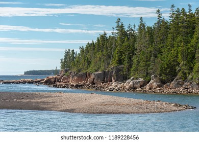 Rocky beach narrowing inlet along Ship Harbor Nature Trail near Seawall on Mount Desert Island