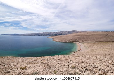 Rocky beach on island of Pag in Croatia