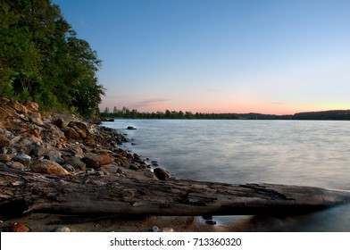 A rocky beach on Lake Hartwell in Clemson, SC.