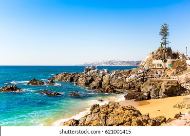 Rocky beach on summer day in Vina del Mar, Chile