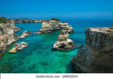 Rocky beach in Puglia, Torre Santâ??Andrea, Italy