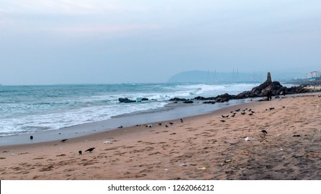 Rocky beach of vizag overlooking the famous Dolphin's Nose and Gangavaram Port.