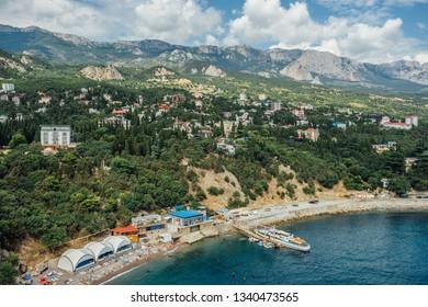 Rocky Black sea coast in Yalta district, Crimea.