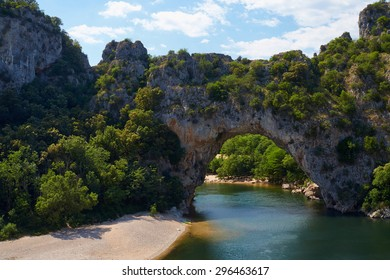 Rocky bridge in the gorge of the river Ardeche in France