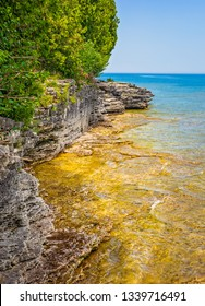 rocky cliff coastline at Door County, Wisconsin's Cave Point on the coast of Lake Michigan